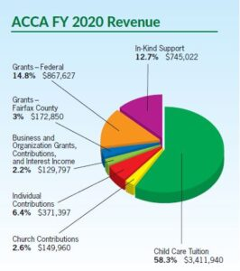 Pie chart displaying sources of revenue.